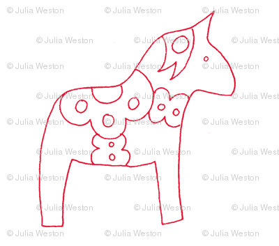 swedish horses in white and red