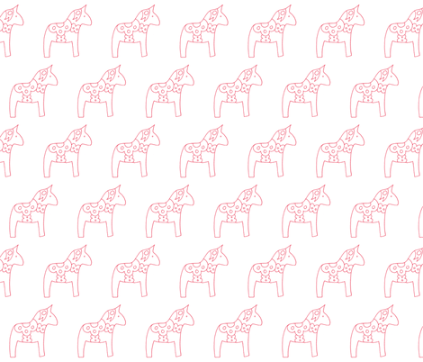 swedish horses in white and red fabric by julia_weston_textiles on Spoonflower - custom fabric