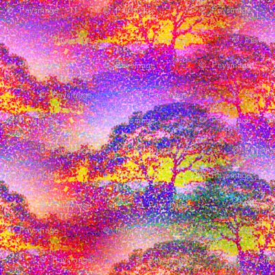 POINTILLIST JUNGLE SAVANNAH TREES PINK SUNRISE
