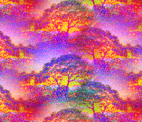 POINTILLIST JUNGLE SAVANNAH TREES PINK SUNRISE fabric by paysmage on Spoonflower - custom fabric