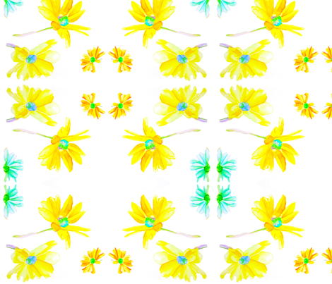 Yellow Daisies fabric by bettieblue_designs on Spoonflower - custom fabric