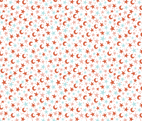 Starry Sky (red) fabric by niseemade on Spoonflower - custom fabric