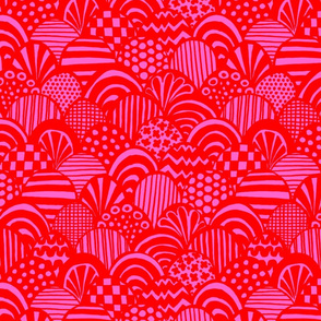 Graphic Scallop, Pink / Red