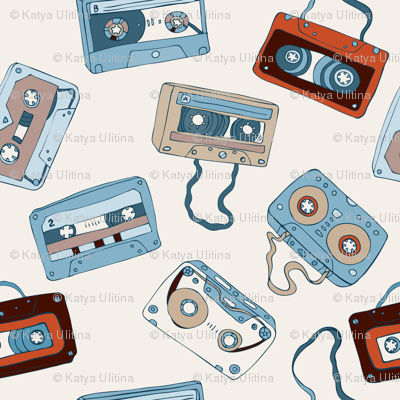 Audio cassette tapes.