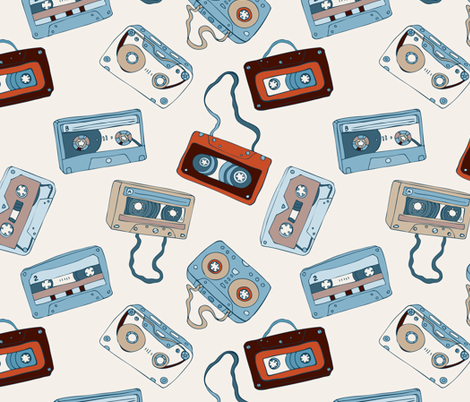 Audio cassette tapes. fabric by katyau on Spoonflower - custom fabric