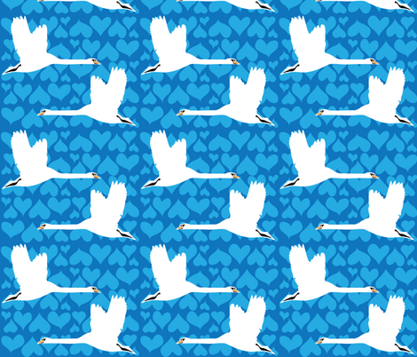 Swan - Blue fabric by owlandchickadee on Spoonflower - custom fabric