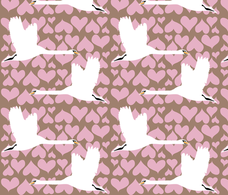 Swan - Pink fabric by owlandchickadee on Spoonflower - custom fabric