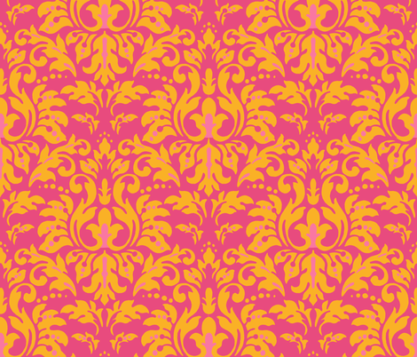 Orange Fushcia Damask fabric by kelly_a on Spoonflower - custom fabric