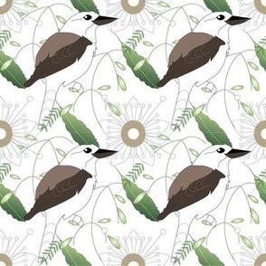 kookaburra and Tick Bush - white