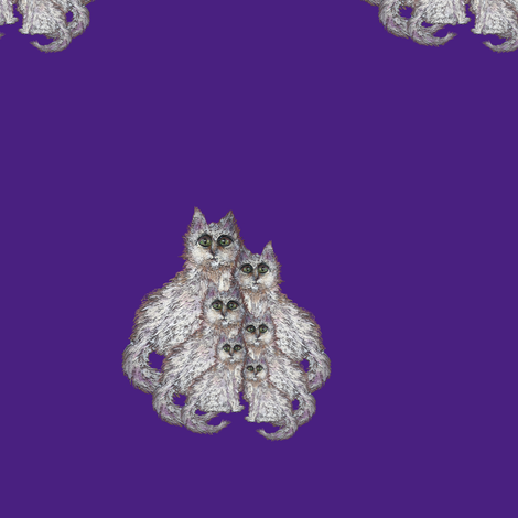 CATS FAMILY BLUE VIOLET fabric by paysmage on Spoonflower - custom fabric