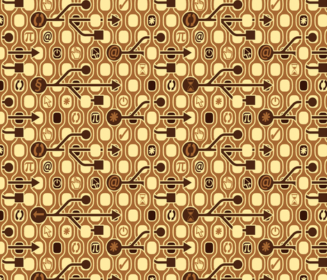 Geek_Spirit_Brown fabric by chicca_besso on Spoonflower - custom fabric