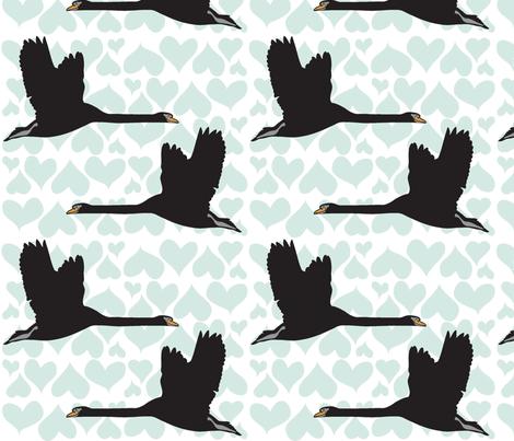 Black Swan - Blue fabric by owlandchickadee on Spoonflower - custom fabric
