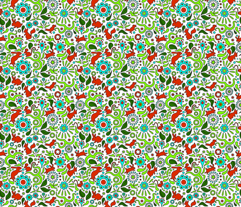 Rabbits in the Garden fabric by vinpauld on Spoonflower - custom fabric