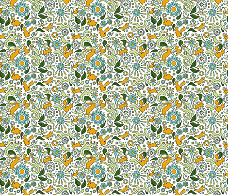 Rabbits in the Garden-orange and blue fabric by vinpauld on Spoonflower - custom fabric