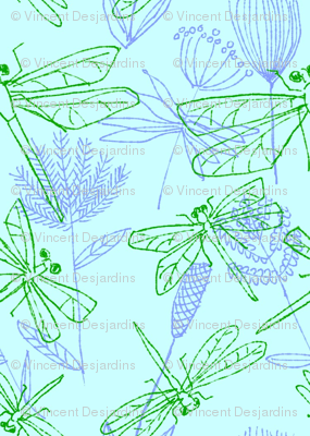 Dragonflies and Plants on Bright Aqua