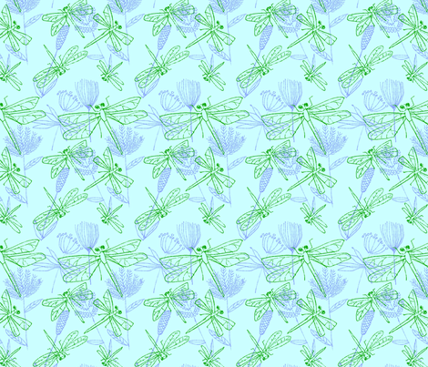 Dragonflies and Plants on Bright Aqua fabric by vinpauld on Spoonflower - custom fabric