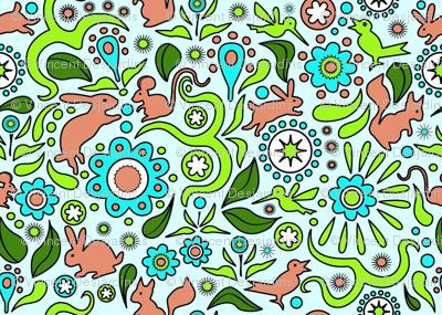 Rabbits in the Garden - Blue Background