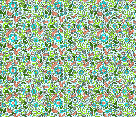 Rabbits in the Garden - Blue Background fabric by vinpauld on Spoonflower - custom fabric
