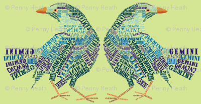 Gemini the Twin Bower Birds Olive