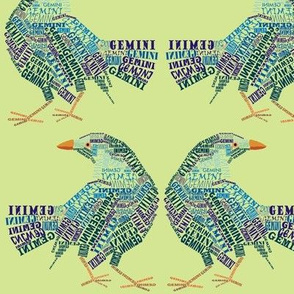 Gemini the Twin Bower Birds Olive