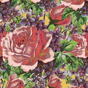 Textured roses and violets