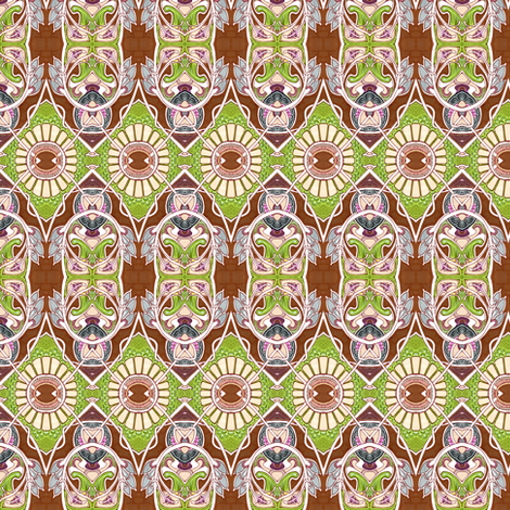 Nouveau Gothic 1940's Eyeball Sunflower Stew fabric by edsel2084 on Spoonflower - custom fabric