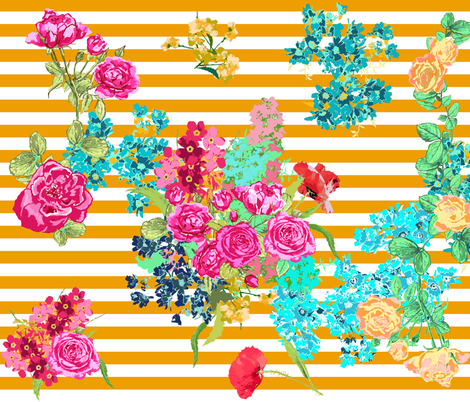 floral bouqet yellow stripe fabric by katarina on Spoonflower - custom fabric