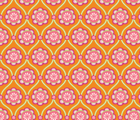 Citrus  Flower orange fabric by jillbyers on Spoonflower - custom fabric