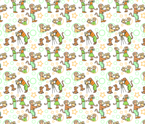 Movie Makers Green and Orange fabric by vinpauld on Spoonflower - custom fabric