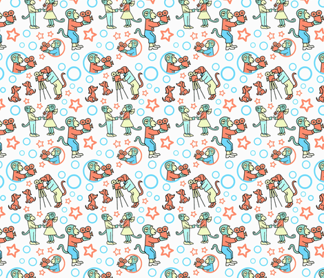 Movie Makers Blue and Orange fabric by vinpauld on Spoonflower - custom fabric