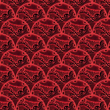 Stormy Seas - Red fabric by siya on Spoonflower - custom fabric
