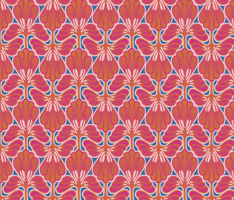 Art Nouveau feathery design in hot colors fabric by hannafate on Spoonflower - custom fabric