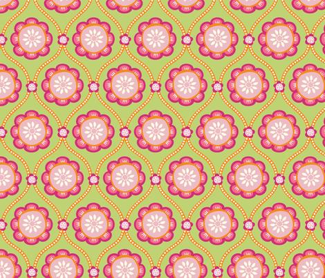 Citrus  Flower green fabric by jillbyers on Spoonflower - custom fabric