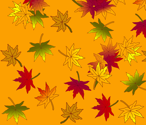 Autumn leaves in Wild Orange ©indigodaze 2013 fabric by indigodaze on Spoonflower - custom fabric