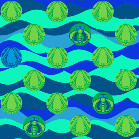 Once in a Blue Frog fabric by mysticalarts on Spoonflower - custom fabric