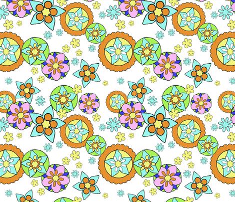 Mod Flowers Muted fabric by vinpauld on Spoonflower - custom fabric