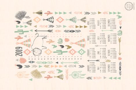 2019 tea towel calendar - southwest fabric by laurawrightstudio on Spoonflower - custom fabric