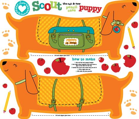 Dog pencil case cut and sew - fat  quarter fabric by laurawrightstudio on Spoonflower - custom fabric