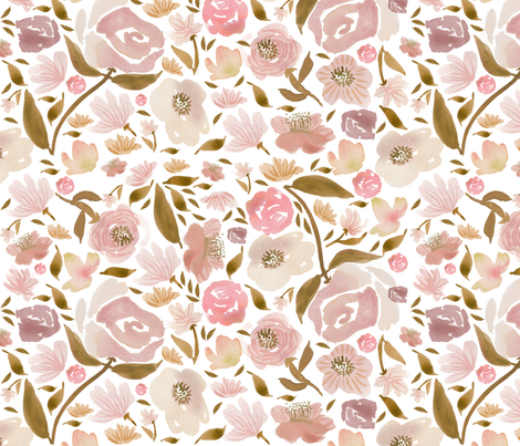 Baby Blush Roses Watercolor flowers Pink Baby Girls fabric by laurawrightstudio on Spoonflower - custom fabric