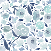 Blue rose watercolour florals blue - watercolor