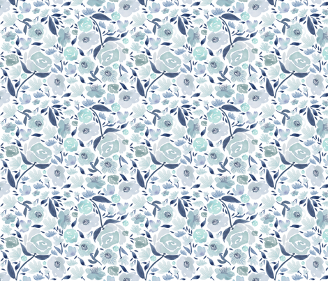 Blue rose watercolour florals blue - watercolor fabric by laurawrightstudio on Spoonflower - custom fabric