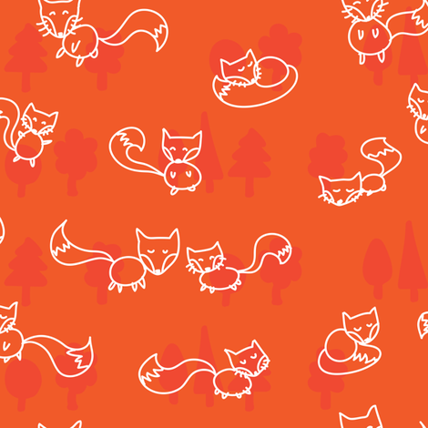 foxes doodle_white on orange fabric by owls on Spoonflower - custom fabric