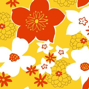 Mod Floral Yellow and Red