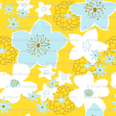 Mod Floral Yellow and Blue