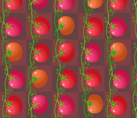 red_tomatoes_vert fabric by lfntextiles on Spoonflower - custom fabric