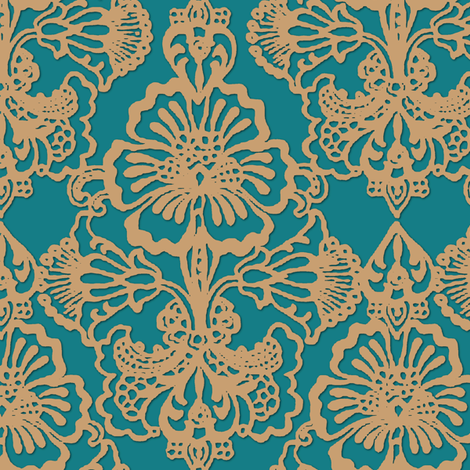 Cora Damask ~ The Leila fabric by peacoquettedesigns on Spoonflower - custom fabric
