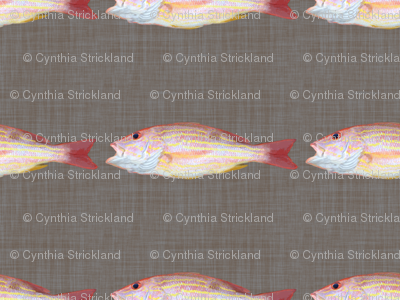 Fish On!  Dark Linen Background