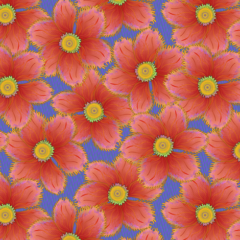 FRINGED FLORAL CORAL fabric by glimmericks on Spoonflower - custom fabric