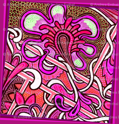 Portrait of the Flower as a Red Paisley Charm Square