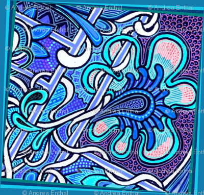 Portrait of the Flower as a Blue Paisley Charm Square